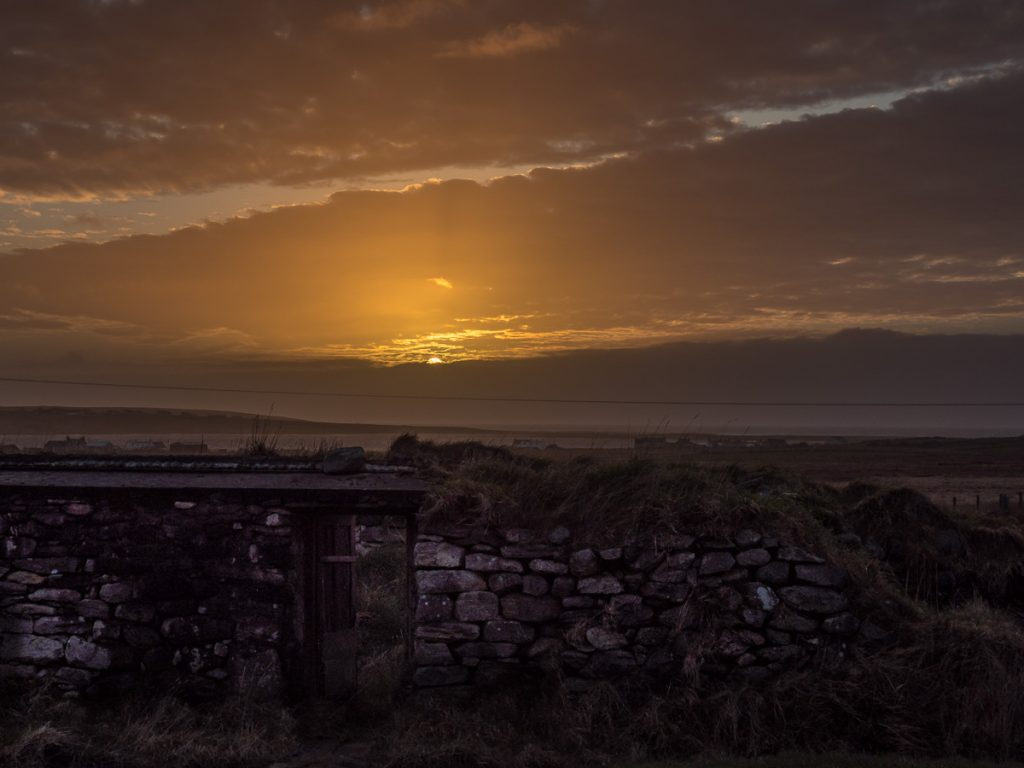 sunset, isle of lewis, black house,