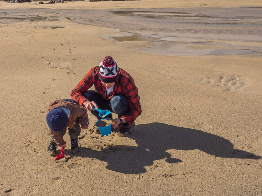 Isle of Lewis, beach, family, sand castles, father, son,