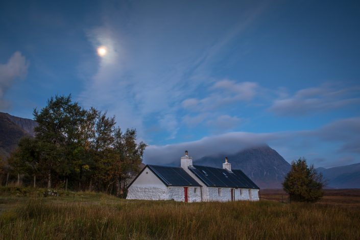 moonrise, glencoe, scotland,