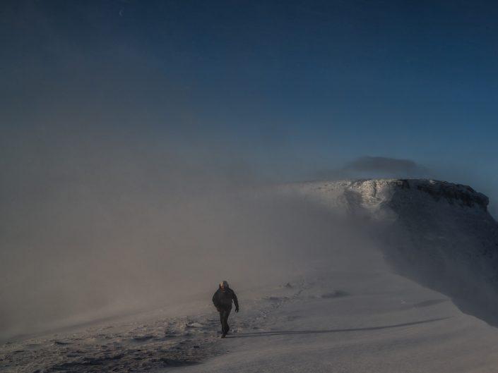 hiker, walking, snow, winter, brecon beacons,