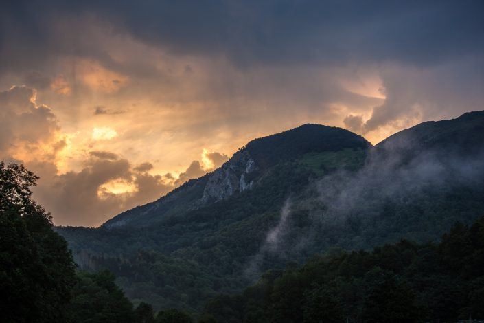 Pyrenees, travel, sunset, forest, mist,