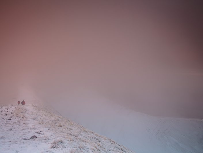 hiking, winter, snow, sunrise, brecon beacons,